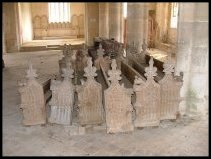 medieval benches, now back in Tottington church